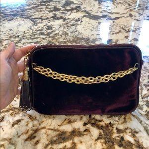 COLE HAAN Chain tassel velvet clutch bag